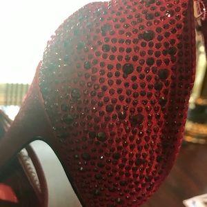 WHBM Red & Black Strappy Heel